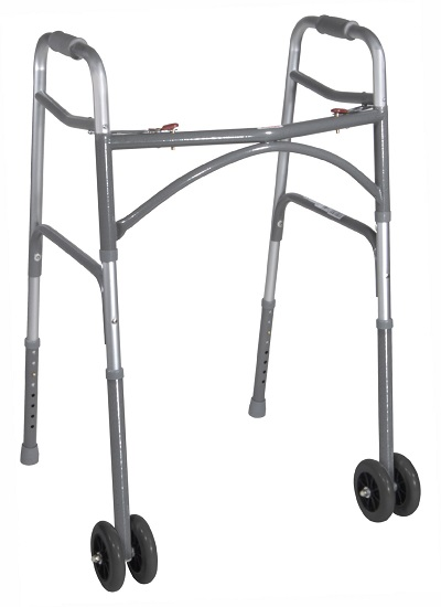 Drive Medical Bariatric Folding Walker, Two Button